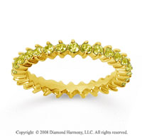 1 Carat Yellow Sapphire 14k Yellow Gold Round Open Prong Eternity Band