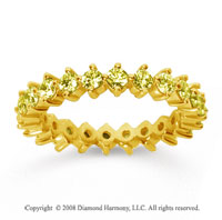 1 1/2Carat Yellow Sapphire 14k Yellow Gold Round Open Prong Eternity Band