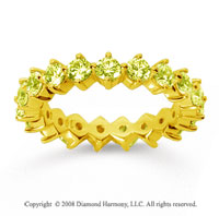 2 Carat Yellow Sapphire 14k Yellow Gold Round Open Prong Eternity Band