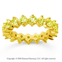 2 1/2Carat Yellow Sapphire 14k Yellow Gold Round Open Prong Eternity Band