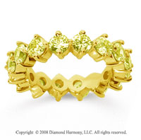 3 1/2Carat Yellow Sapphire 14k Yellow Gold Round Open Prong Eternity Band