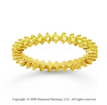 3/5 Carat Yellow Sapphire 18k Yellow Gold Round Open Prong Eternity Band