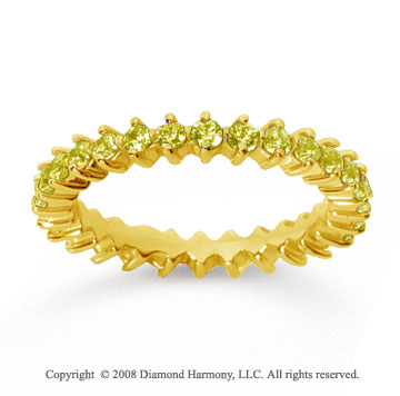1 Carat Yellow Sapphire 18k Yellow Gold Round Open Prong Eternity Band