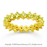 2 Carat Yellow Sapphire 18k Yellow Gold Round Open Prong Eternity Band