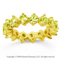 4 Carat Yellow Sapphire 18k Yellow Gold Round Open Prong Eternity Band