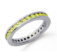 3/4 Carat Yellow Sapphire Platinum Channel Eternity Band
