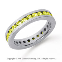 1 Carat Yellow Sapphire Platinum Channel Eternity Band