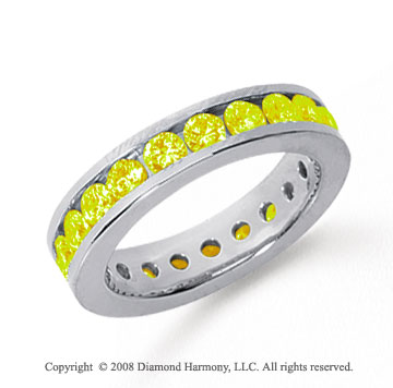 1 1/2 Carat Yellow Sapphire Platinum Channel Eternity Band
