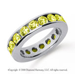 3 Carat Yellow Sapphire Platinum Channel Eternity Band