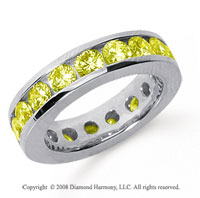 3 1/2 Carat Yellow Sapphire Platinum Channel Eternity Band
