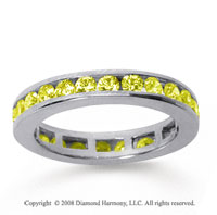 1/2 Carat Yellow Sapphire 14k White Gold Channel Eternity Band