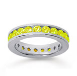 1 1/2 Carat Yellow Sapphire 14k White Gold Channel Eternity Band