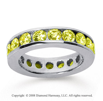 3 Carat Yellow Sapphire 14k White Gold Channel Eternity Band
