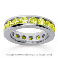 3 1/2 Carat Yellow Sapphire 14k White Gold Channel Eternity Band