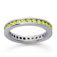 3/4 Carat Yellow Sapphire 18k White Gold Channel Eternity Band