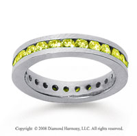 1 Carat Yellow Sapphire 18k White Gold Channel Eternity Band