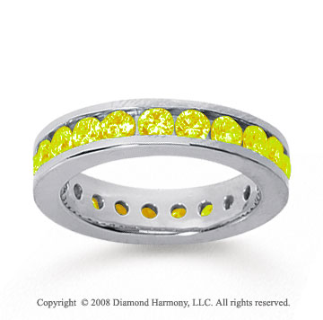 1 1/2 Carat Yellow Sapphire 18k White Gold Channel Eternity Band