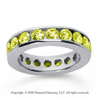 3 Carat Yellow Sapphire 18k White Gold Channel Eternity Band