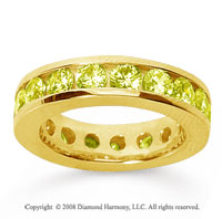 3 1/2 Carat Yellow Sapphire 14k Yellow Gold Channel Eternity Band