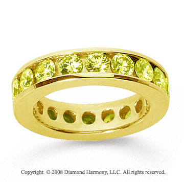3 Carat Yellow Sapphire 18k Yellow Gold Channel Eternity Band