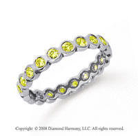 1/2 Carat Yellow Sapphire Platinum Round Bezel Eternity Band
