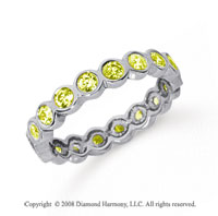 1 Carat Yellow Sapphire Platinum Round Bezel Eternity Band