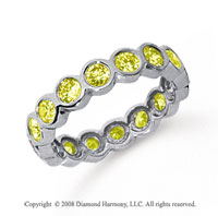 1 1/2 Carat Yellow Sapphire Platinum Round Bezel Eternity Band