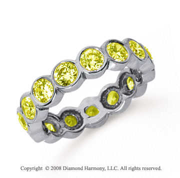 2 1/2 Carat Yellow Sapphire Platinum Round Bezel Eternity Band