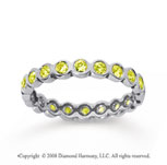 1/2 Carat Yellow Sapphire 14k White Gold Round Bezel Eternity Band