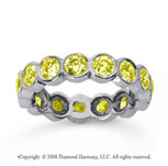 2 1/2 Carat Yellow Sapphire 14k White Gold Round Bezel Eternity Band