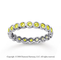 1/2 Carat Yellow Sapphire 18k White Gold Round Bezel Eternity Band