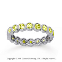 1 Carat Yellow Sapphire 18k White Gold Round Bezel Eternity Band