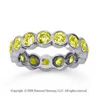 2 Carat Yellow Sapphire 18k White Gold Round Bezel Eternity Band