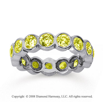 2 1/2 Carat Yellow Sapphire 18k White Gold Round Bezel Eternity Band
