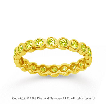1/2 Carat Yellow Sapphire 14k Yellow Gold Round Bezel Eternity Band