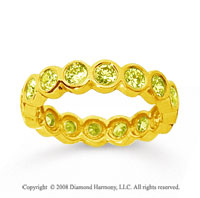 1 1/2 Carat Yellow Sapphire 14k Yellow Gold Round Bezel Eternity Band