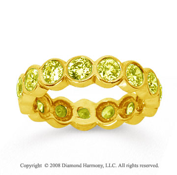 2 1/2 Carat Yellow Sapphire 14k Yellow Gold Round Bezel Eternity Band