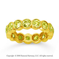 2 1/2 Carat Yellow Sapphire 18k Yellow Gold Round Bezel Eternity Band