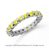 1 Carat Yellow Sapphire Platinum Eternity Round Bar Band