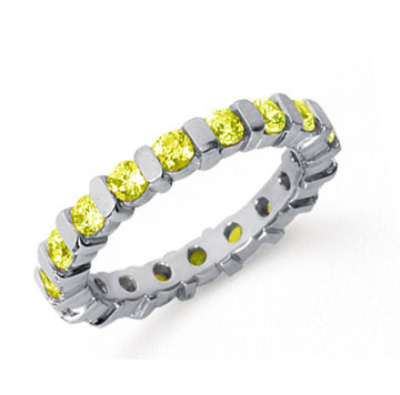 1 1/2 Carat Yellow Sapphire Platinum Eternity Round Bar Band