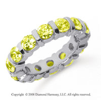4 Carat Yellow Sapphire Platinum Eternity Round Bar Band