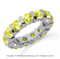 5 Carat Yellow Sapphire Platinum Eternity Round Bar Band