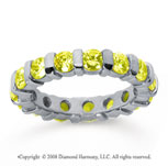 2 1/2 Carat Yellow Sapphire 14k White Gold Eternity Round Bar Band