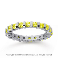 1 Carat Yellow Sapphire 18k White Gold Eternity Round Bar Band