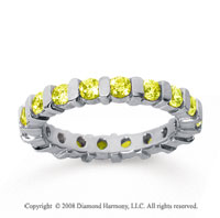 1 1/2 Carat Yellow Sapphire 18k White Gold Eternity Round Bar Band