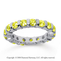 2 Carat Yellow Sapphire 18k White Gold Eternity Round Bar Band