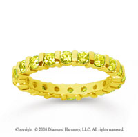 1 Carat Yellow Sapphire 18k Yellow Gold Eternity Round Bar Band
