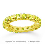 2 Carat Yellow Sapphire 18k Yellow Gold Eternity Round Bar Band