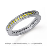 1/2 Carat Yellow Sapphire Platinum Milgrain Prong Eternity Band
