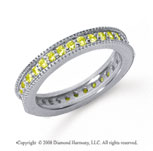 3/4 Carat Yellow Sapphire Platinum Milgrain Prong Eternity Band